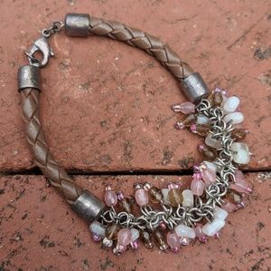 Faux Leather Braided Bracelet with Beads